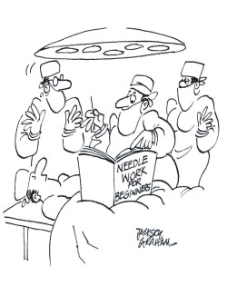 Doctor stitching cartoon